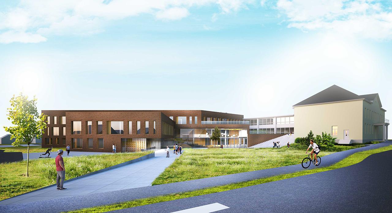 Kõrveküla kooli juurdeehituse arhitektuurivõistlus I preemia